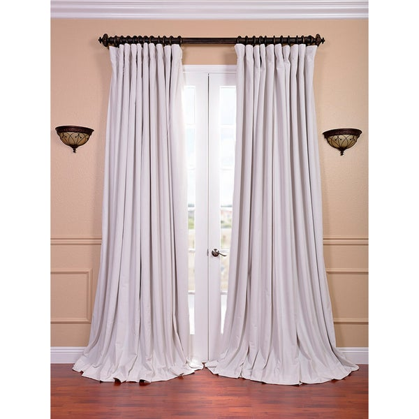 EFF Off White Velvet Blackout Extra Wide Curtain Panel (As Is Item)
