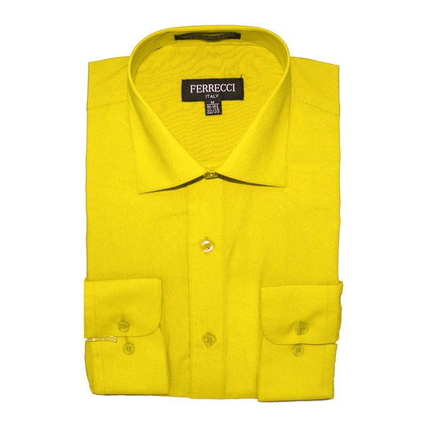 ferrecci men 39 s slim fit yellow collared formal shirt