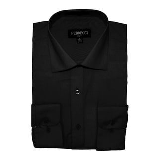 Ferrecci Men's Slim Fit Charcoal Collared Formal Shirt
