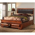 Veronica Queen Upholstered Headboard Antique Oak Bed