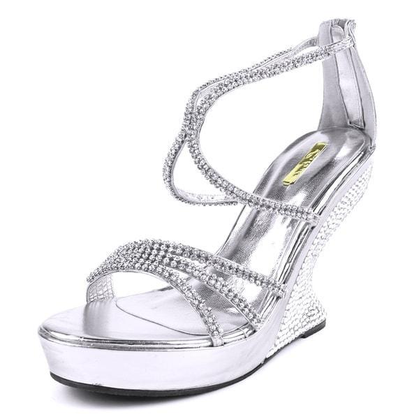 Celeste Women's 'JUSTIN-01' Rhinestone Studded Curved Heel Sandals