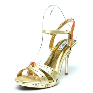 Celeste Women's 'GAGA-07' Gold Satin and Flowered Snake Print Sandals