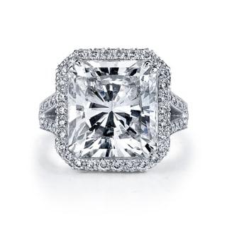 Platinum 12 1/6ct TDW Certified Radiant Cut Diamond Ring