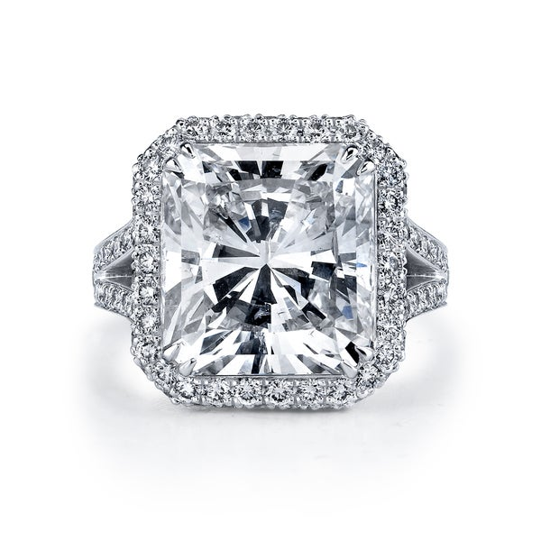 Platinum 12 1/6ct TDW Certified Radiant Cut Diamond Ring