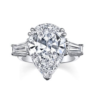8ct Certified Pear Shape 9 1/6ct TDW Diamond Three-stone Platinum Engagement Ring (H, SI1)