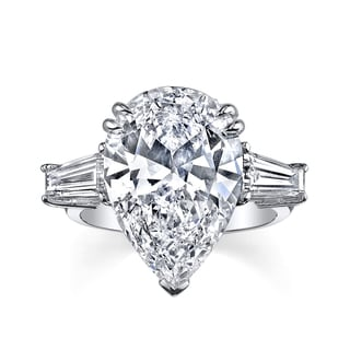 8ct Certified Pear Shape Center 9 1/6ct TDW Diamond Three-stone Platinum Engagement Ring (H, SI1)