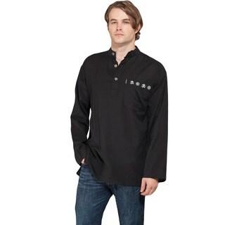 Cotton Stripe Men's Cotton Coconut Button Shirt (Nepal)