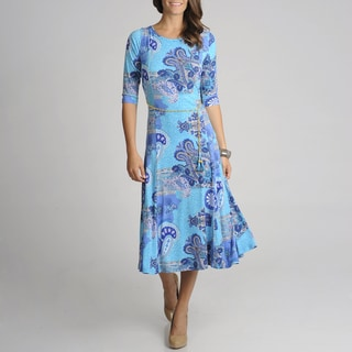 Lennie for Nina Leonard Women's Paisley Printed Dress