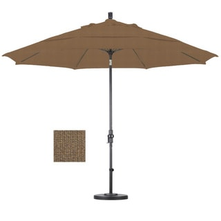 Premium 11-foot Sesame Fiberglass Woven Umbrella with 50-pound Stand
