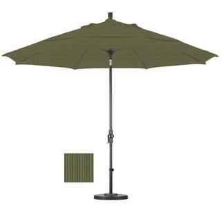 Premium 11-foot Fern Fiberglass Woven Umbrella with 50-pound Stand