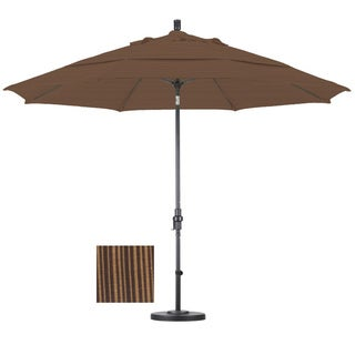 Premium 11-foot Sequoia Fiberglass Woven Umbrella with 50-pound Stand