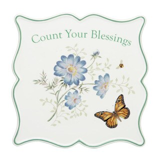 Lenox Butterfly Meadow Sentiment Count Your Blessings Trivet