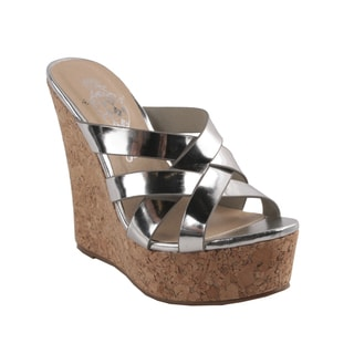 Jacobies by Beston Women's 'NY-1' Silver Slip-On Platform Wedge Sandals