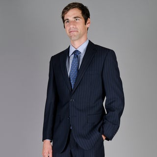 Men's Navy Shadow Stripe 2-Button Suit