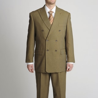 Caravelli Fusion Men's Double Breasted Toast Mini-Check Suit