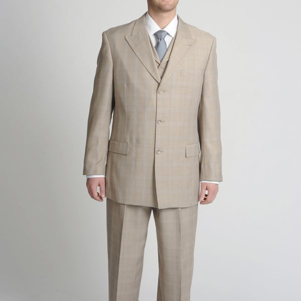 Caravelli Fusion Men's Tan Tonal Plaid Vested Suit