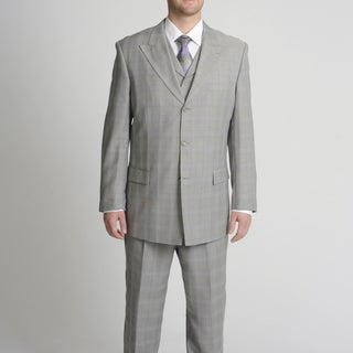 Caravelli Fusion Men's Light Grey Tonal Plaid Vested Suit