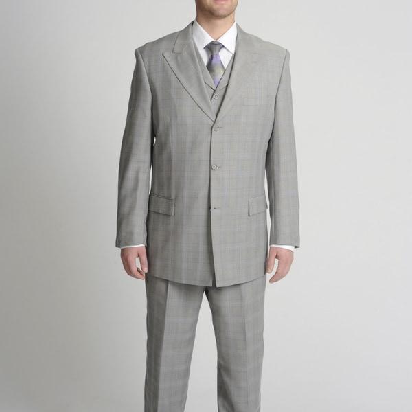Caravelli Fusion Men's Light Grey Tonal Plaid Vested Suit