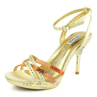 Celeste Women's 'GAGA-08' Gold Satin and Flowered Snake Print Sandals