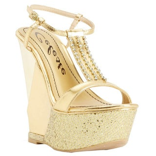 Celeste Women's 'Lea-01' Gold T-Strap Sling Back Wedge Sandals