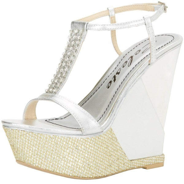 Celeste Women's 'Lea-01' Silver T-Strap Sling Back Wedge Sandals