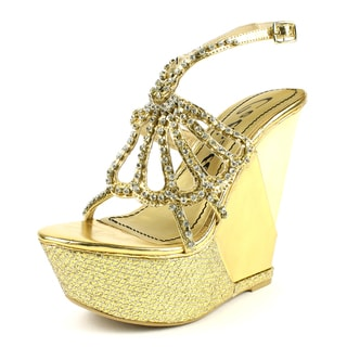 Celeste Women's 'LEA-02' Gold Rhinestone Triple Stack Wedge Sandals