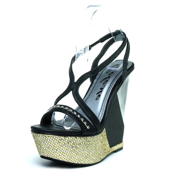 Celeste Women's 'Lea-03' Black Glitter Tripe-Stack Wedge Sandals