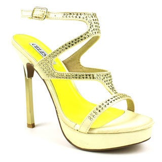 Celeste Women's 'MICHELLE-02' Gold Satin Jewel Embellishment Sandals