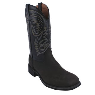 AdTec by Beston Men's 'Crazy Horse' Western Square Toe Leather Boots