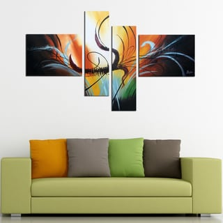 'Abstract-412' 4-piece Gallery-wrapped Hand Painted Canvas Art Set