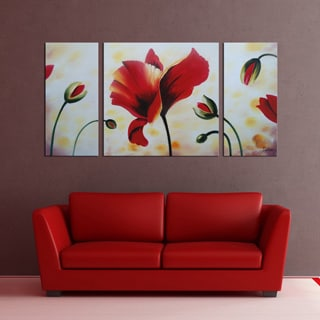 'Flower' 3-piece Gallery-wrapped Hand Painted Canvas Art Set