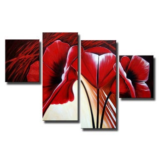 'Red Flower and Green' 4-piece Gallery-wrapped Canvas Art Set