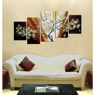'Butterfly Tree' 5-piece Gallery-wrapped Hand Painted Canvas Art Set
