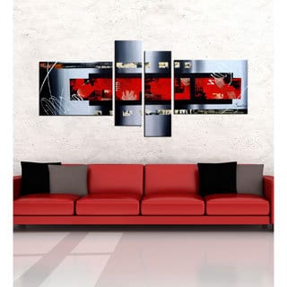 'Abstract 412' 4-piece Gallery-wrapped Hand Painted Canvas Art Set