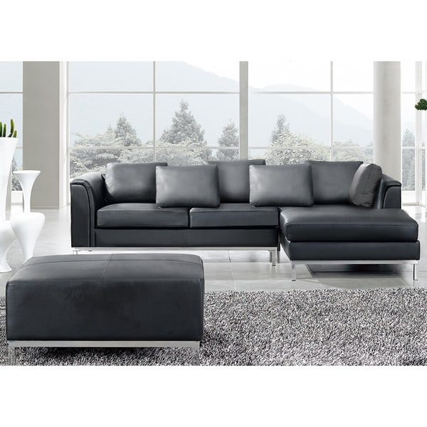 Beliani Oslo Black Modern Sectional Leather Sofa With
