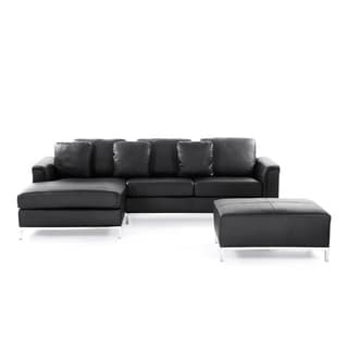 Beliani Oslo Black Modern Sectional Leather Sofa with Ottoman
