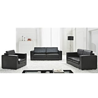 Helsinki Black European Design Leather Sofa Set by Beliani