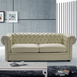 Chesterfield Beige Leather Classic Loveseat