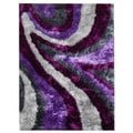 Flash 'Shaggy-654' Lilac Abstract Wave Area Rug (5' x 7')