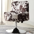 Bridgeport Ergonomic Contour Cow Hide Fabric Swivel Modern Pedestal Accent Chair