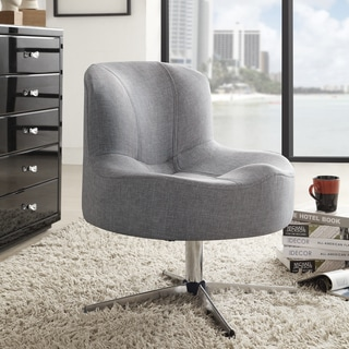 Bridgeport Ergonomic Contour Grey Linen Swivel Modern Cross Legs Accent Chair