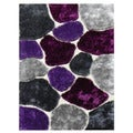 Flash 'Lilack Shaggy' Spot Colorblocked Area Rug (5' x 7')