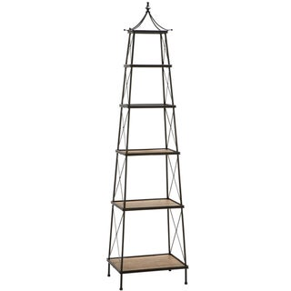 Casa Cortes Parisian 81-inch Natural Wood and Metal Widening Shelf Tower