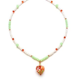 Every Morning Design Orange Flower Lampwork Heart Necklace