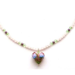 Every Morning Design Flower Heart On Pink Quartz Necklace