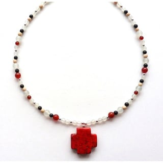 Every Morning Design Red Turquoise Magnesite Cross