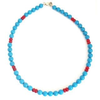 Blue Turquoise and Coral Necklace