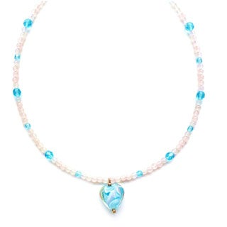 Every Morning Design Aqua Swirl Heart On Pink Quartz Necklace