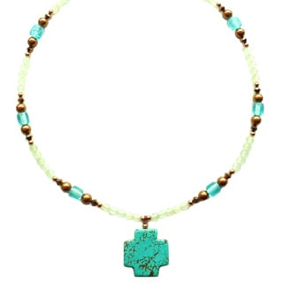 Every Morning Design Turquoise Magnesite Cross On New Jade and Copper Necklace