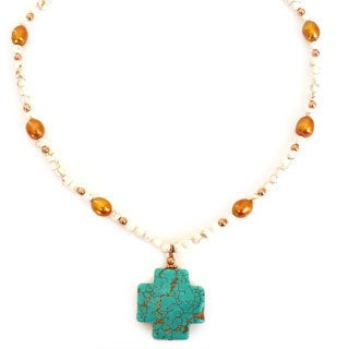 Every Morning Design Turquoise Magnesite Cross With Copper Pearls